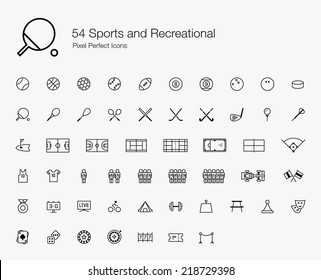 Sports and Recreational Pixel Perfect Icons (line style)