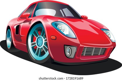 Sports red cartoon car on a white background. Vector illustration