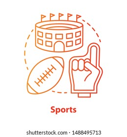 Sports red concept icon. Producing and organizing sport activity idea thin line illustration. Business industry. Leisure time places, fitness products. Vector isolated outline drawing. Editable stroke