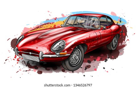 Sports retro car jaguar e-type red on a white background with splashes of watercolor.