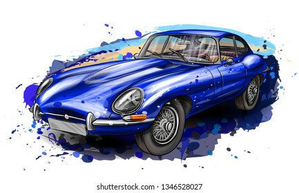 Sports retro car jaguar e-type blue on a white background with splashes of watercolor.