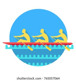 Sports Rowing and canoeing silhouette icon. Three athletes with oars rowing in boat flat vector illustration isolated on white background. Teamwork concept. For business, sportive concept, app, web