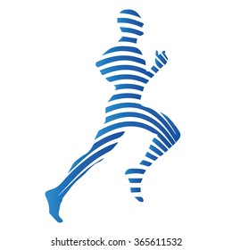 Sports, running man, vector isolated silhouette. Abstract blue logo of runner