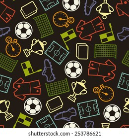 Sports seamless pattern with soccer football symbols in flat style.