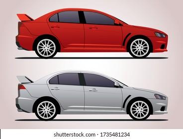 sports sedan in two colors. Mitsubishi Lancer.
