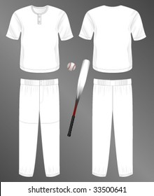 Sports series. Realistic team baseball uniform: pants and  jersey with 2 button neck. Blank template - just add your art.