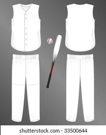 Realistic Team Baseball Uniform Pants And Split Front Sleeveless Jersey Blank