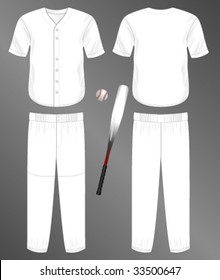 Sports series. Realistic team baseball uniform: pants and split front classic jersey. Blank template - just add your art.