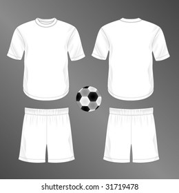 Sports series. Realistic team soccer (European football)  uniform: shorts and jersey with round neck. Blank template - just add your art.