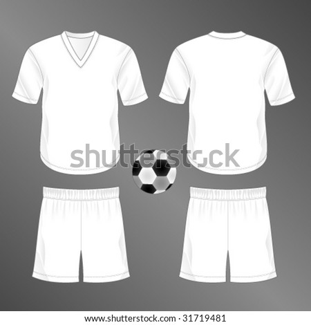 Realistic team soccer (European football) uniform  shorts and jersey with  v-neck. Blank template - just add your art. - Vector a8af3a403