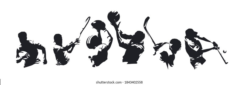 Sports, set of athletes of various sports disciplines. Isolated vector silhouettes. Hockey, football, basketball, rugby, baseball, tennis