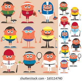 Sports: Set of cartoon characters representing different sports. No transparency and gradients used.