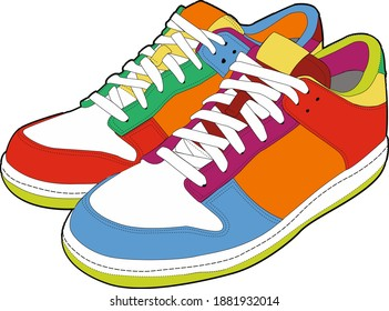 Sports shoes a pair of colored leather sneakers