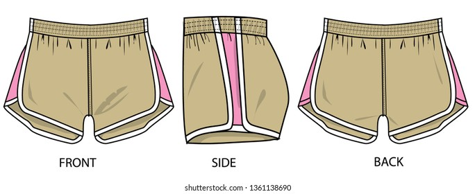 Sports shorts for teenage women vector template