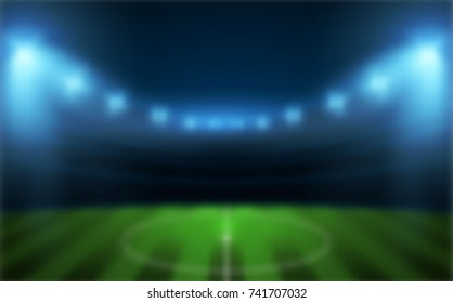 Sports stadium with lights, Soccer game Vector Stadium, Blurred Background.