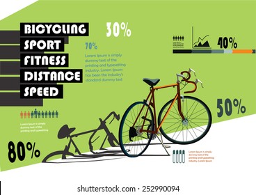 Sports statistics infographics with bicycle