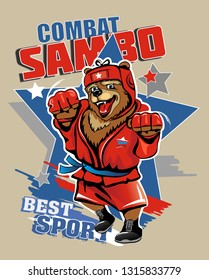 Sports. Strong Russian bear in red. Combat wrestling. Vector illustration.