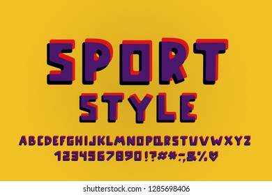 Sports style Alphabet retro design. Vector Letters, numbers and punctuation marks