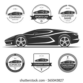 Sports or super car silhouette with the set of car service labels, emblems, logotypes. Black vector illustration isolated on white background