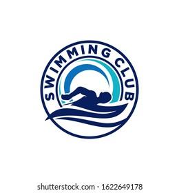 Sports Swimming Club Team Logo Template Vector