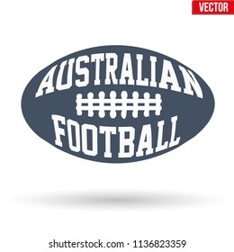 Sports symbol ball of Australian rules football with typography. Vector Illustration isolated on white background.