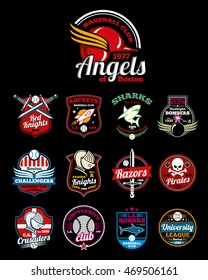 Sports teams high school, university and college color badges. Emblem or logo for baseball league. Vector illustration