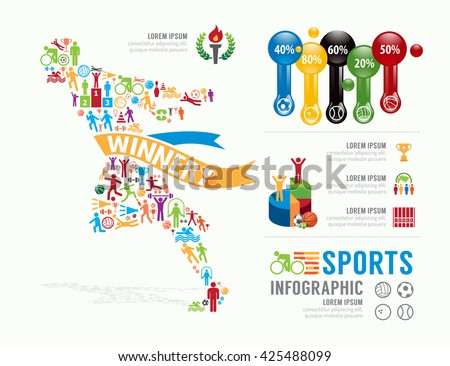 sports template design infographic concept vector のベクター画像