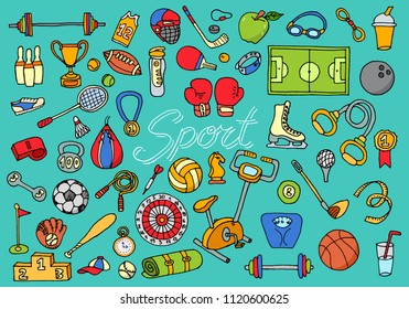Sports themed set. Active games. Gyms for gymnastics, fitness and lifestyle. doodle elements. Line art, objects and symbols set. engraved hand drawn vintage old sketch. football basketball volleyball.