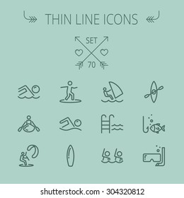 Sports thin line icon set for web and mobile. Set includes-swimming, snorkel, mask, kayak, wakeboard icons. Modern minimalistic flat design. Vector dark grey icon on grey background.