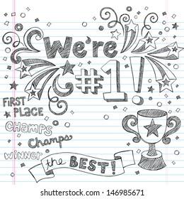 Sports Trophy Winner- We re Number One Back to School Sketchy Notebook Doodles- Illustration Design Elements on Lined Sketchbook Paper Background