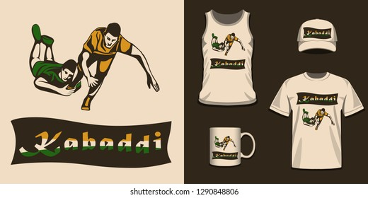 Sports T-shirt Design for Indian Kabaddi Fans. Concept of sportsman playing Kabaddi. Creative poster or Banner design with playing kabaddi players.