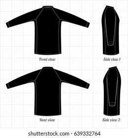 Sports T-shirt with long sleeves, black. Thermal Clothing. Vector illustration.