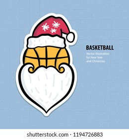 Sports Vector illustration for basketball. Greeting card for the new year and christmas. Design element for print, poster, for toys, for children's party, Santa Claus.