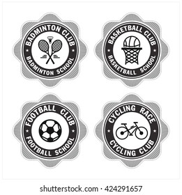 Sports vector logos logos. Badminton, basketball, football, Cycling. Sports schools and clubs.
