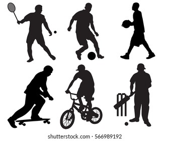 Sports vector silhouette collection