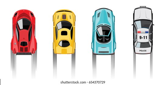 Sports vehicles and police car top view, isolated on white background. Vector illustration