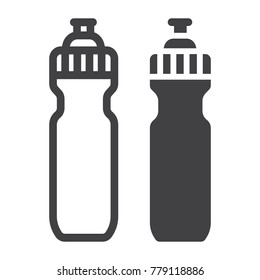Sports water bottle line and glyph icon, fitness and sport, hydro flask sign vector graphics, a linear pattern on a white background, eps 10.