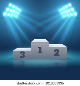 Sports winner empty podium illuminated by searchlights vector illustration. Stage empty with floodlight illuminated, winner pedestal podium