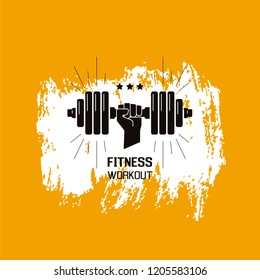 Sportsman arm holding disc weight dumbbell. Fitness workout concept. Grungy background with brush strokes.