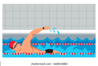 Sportsman character in rubber hat and glasses swimming breaststroke swim style in pool cartoon. Professional male fit swimmer training. Water sport. Aquatic workout. Vector flat illustration
