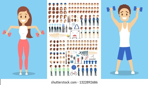 Sportsman character set for the animation with various views, hairstyle, emotion, pose and gesture. Training equpiment. Dumbbell and barbell. Isolated vector illustration in cartoon style