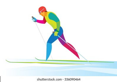 Sportsman in classic style cross country skiing race