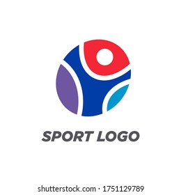 A sportsman logo concept in different colours