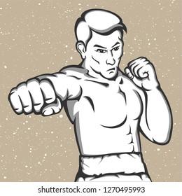 Sportsman muay thai boxer fighting