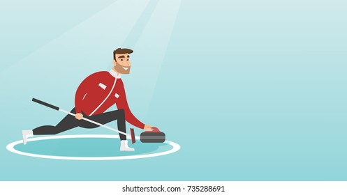 Sportsman playing curling on a skating rink. Caucasian curling player with stone and broom. Curling player sliding on the ice and delivering a stone. Vector flat design illustration. Horizontal layout