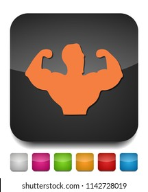 Sportsman silhouette character. Sport Fitness club creative concept. Power strength man icon.