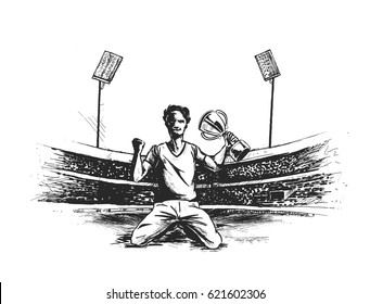 Sportsman sitting with victory cup in hand on stadium grass. , Hand Drawn Sketch Vector illustration.