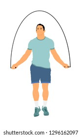 Sportsman skipping with jump rope vector illustration. fitness instructor. Sport exercising and lifestyle concept. Athlete skipping rope. Fitness Workout. Healthy Athletic Man With Muscular Body.