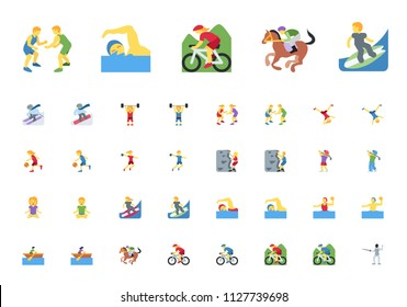 Sportsman, sport people man, woman persons icons, vector illustration symbols emojis, characters set, collection in flat cartoon style.