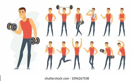 Sportsman - vector cartoon people character set isolated on white background. A cute boy in different situations, poses, gestures for animation. Cheerful man training. Active lifestyle concept